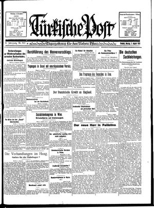 Türkische Post vom 03.08.1931