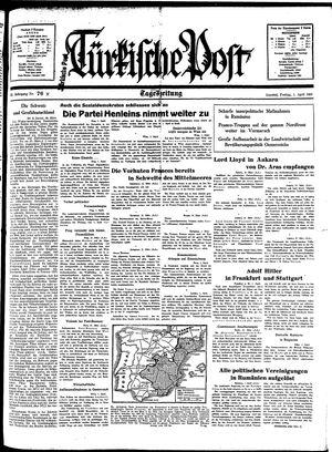 Türkische Post vom 01.04.1938