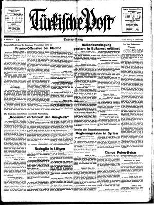 Türkische Post vom 21.02.1939