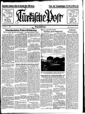Türkische Post vom 01.04.1939