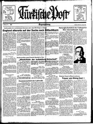 Türkische Post vom 05.04.1939
