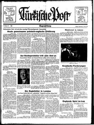 Türkische Post vom 06.04.1939