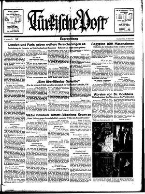 Türkische Post vom 14.04.1939