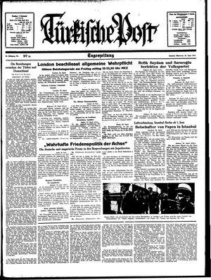 Türkische Post vom 26.04.1939