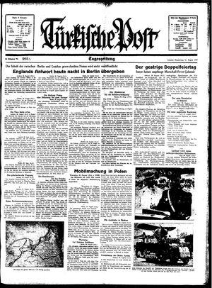 Türkische Post vom 31.08.1939