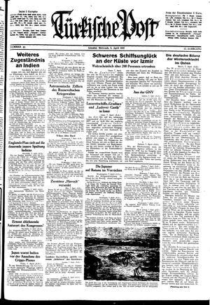 Türkische Post vom 08.04.1942