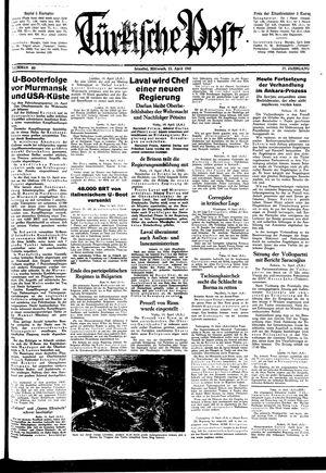 Türkische Post vom 15.04.1942