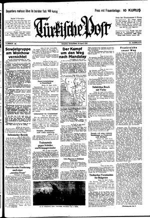 Türkische Post vom 25.04.1942
