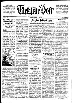 Türkische Post vom 01.08.1942
