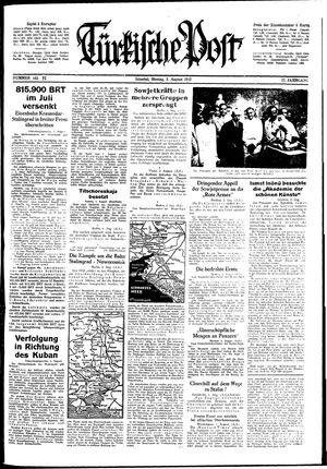 Türkische Post vom 03.08.1942