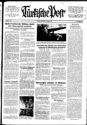 Türkische Post vom 10.09.1942