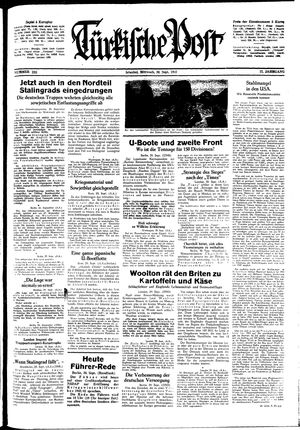 Türkische Post vom 30.09.1942