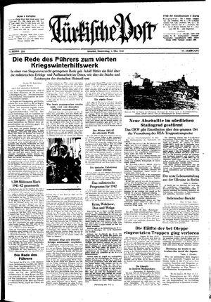 Türkische Post vom 01.10.1942