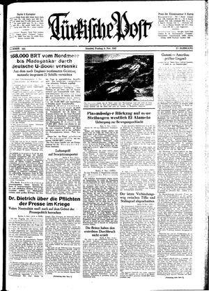 Türkische Post vom 06.11.1942