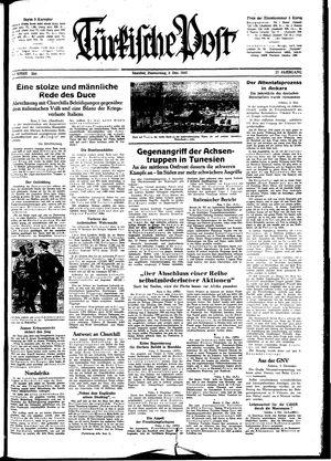 Türkische Post vom 03.12.1942