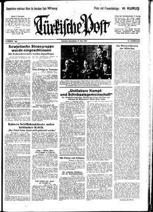 Türkische Post vom 12.12.1942