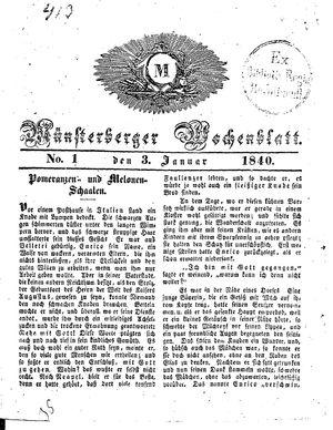 Münsterberger Wochenblatt vom 03.01.1840