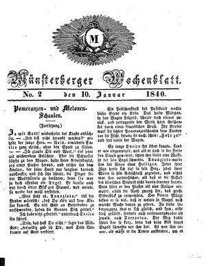 Münsterberger Wochenblatt vom 10.01.1840