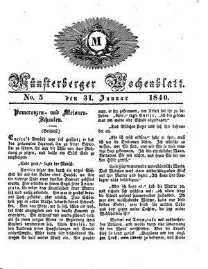 Münsterberger Wochenblatt on Jan 31, 1840