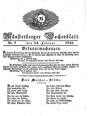 Münsterberger Wochenblatt vom 14.02.1840