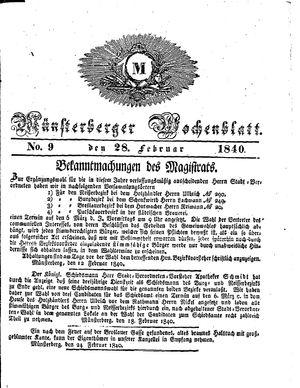 Münsterberger Wochenblatt on Feb 28, 1840