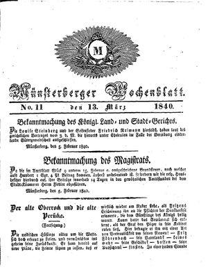 Münsterberger Wochenblatt vom 13.03.1840