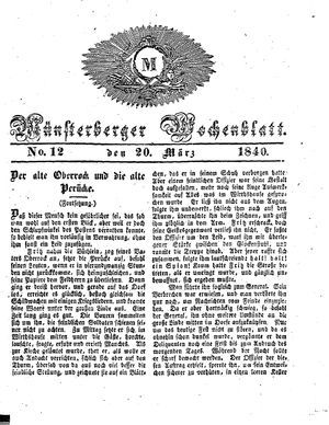 Münsterberger Wochenblatt vom 20.03.1840