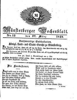 Münsterberger Wochenblatt vom 27.03.1840