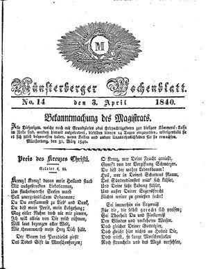 Münsterberger Wochenblatt vom 03.04.1840