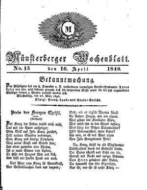 Münsterberger Wochenblatt on Apr 10, 1840