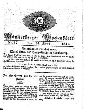 Münsterberger Wochenblatt on Apr 24, 1840