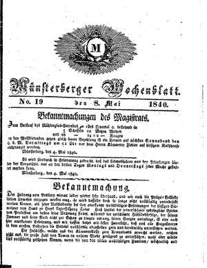 Münsterberger Wochenblatt vom 08.05.1840