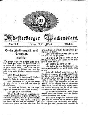 Münsterberger Wochenblatt vom 22.05.1840