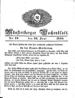 Münsterberger Wochenblatt vom 26.06.1840