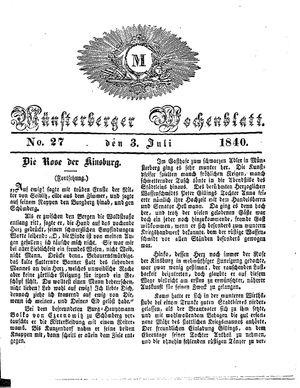Münsterberger Wochenblatt on Jul 3, 1840