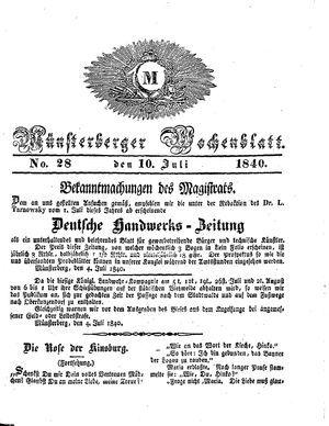 Münsterberger Wochenblatt on Jul 10, 1840