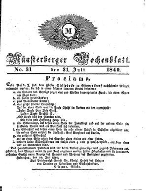 Münsterberger Wochenblatt vom 31.07.1840