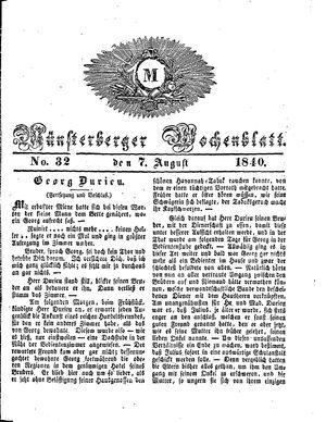 Münsterberger Wochenblatt vom 07.08.1840