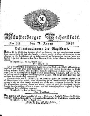 Münsterberger Wochenblatt on Aug 21, 1840