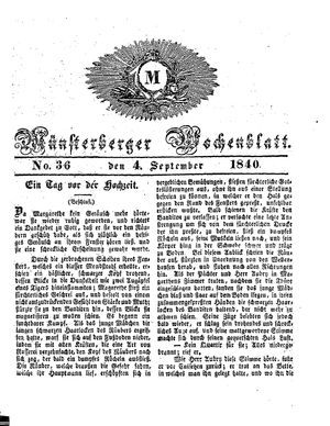 Münsterberger Wochenblatt on Sep 4, 1840