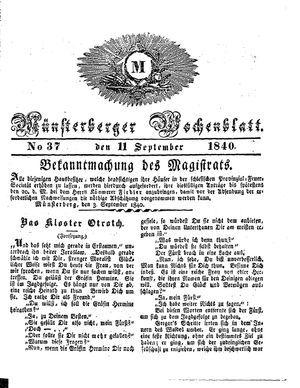 Münsterberger Wochenblatt vom 11.09.1840