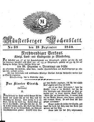 Münsterberger Wochenblatt vom 18.09.1840