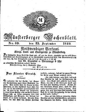 Münsterberger Wochenblatt vom 25.09.1840