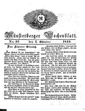 Münsterberger Wochenblatt vom 01.10.1840
