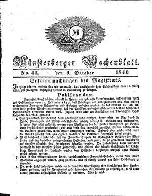 Münsterberger Wochenblatt vom 09.10.1840
