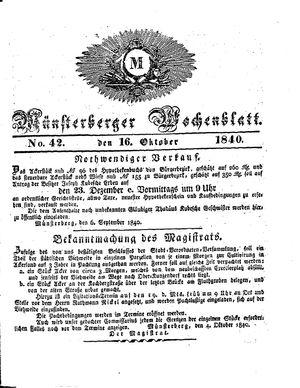 Münsterberger Wochenblatt vom 16.10.1840