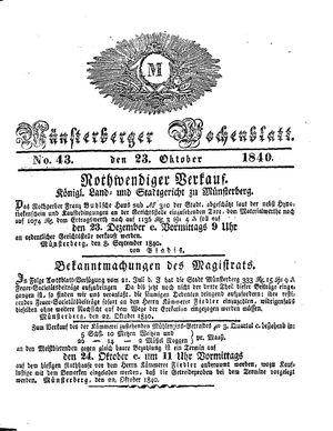Münsterberger Wochenblatt vom 23.10.1840