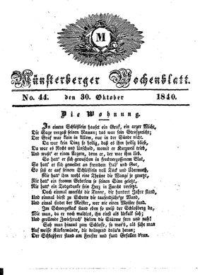 Münsterberger Wochenblatt vom 30.10.1840