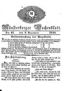 Münsterberger Wochenblatt vom 06.11.1840