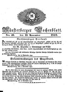 Münsterberger Wochenblatt vom 13.11.1840